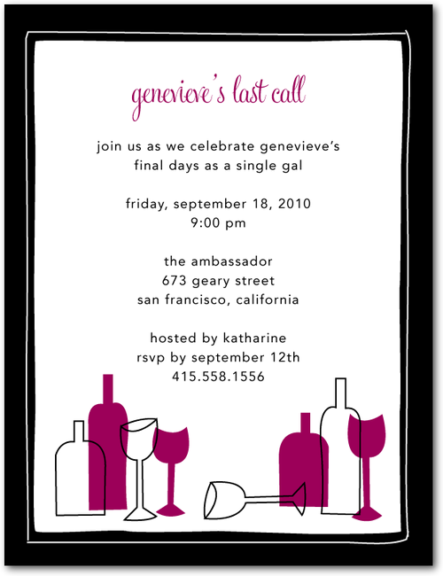 wine bar tasting with black borders - signature bachelorette party, Party invitations