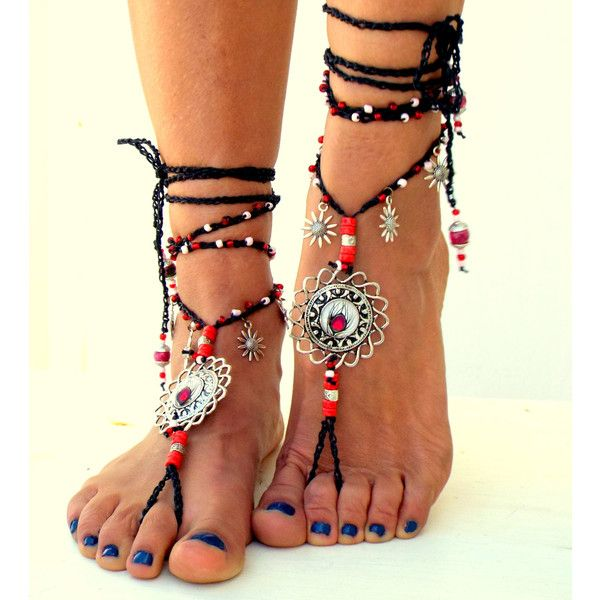 Barefoot Sandals, Barefoot Beach Jewelry, gemstones Hippie Sandals,... ($43) ❤ liked on Polyvore featuring shoes, sandals, bohemian shoes, toe thong sandals, summer sandals, beach shoes and summer shoes