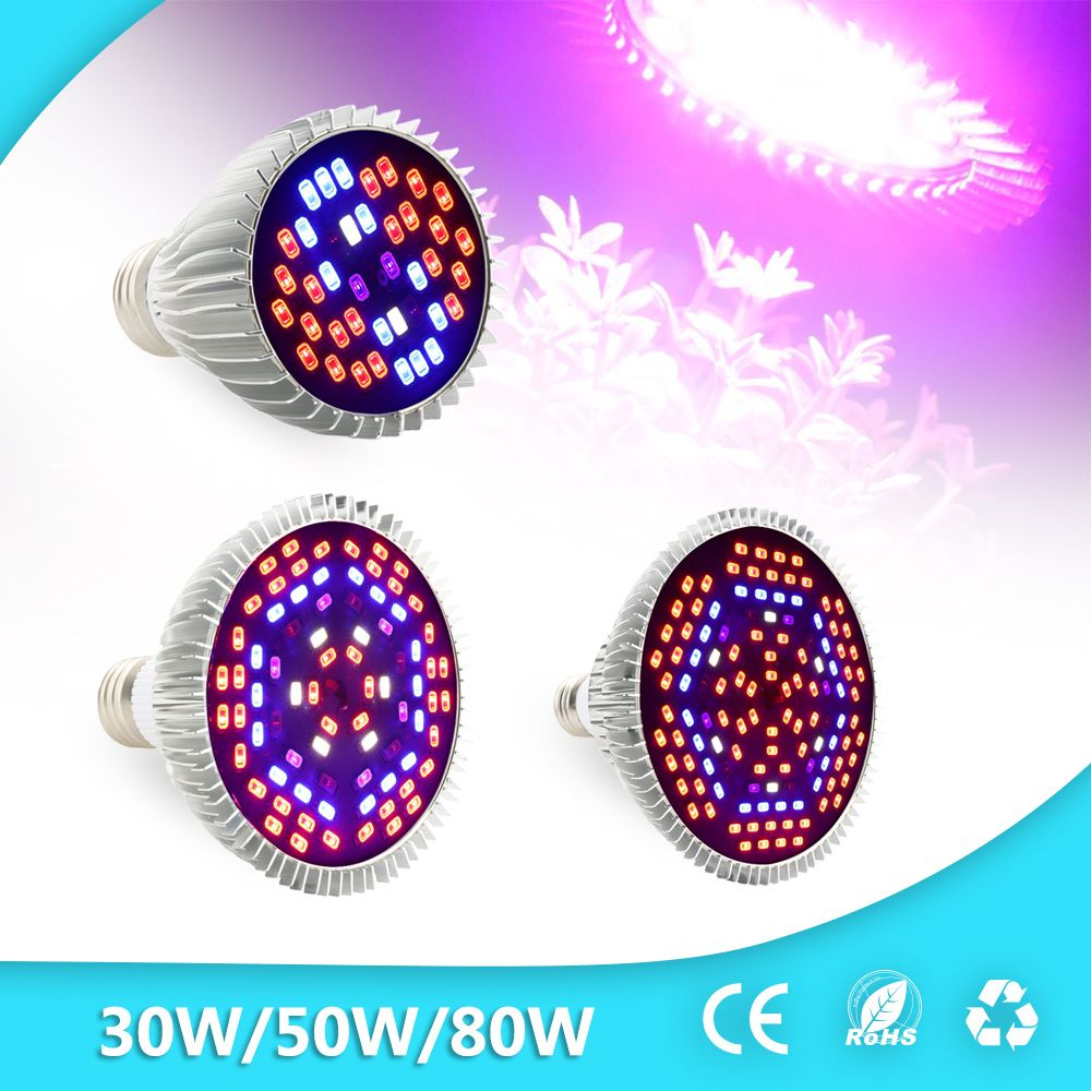 30W/50W/80W Led Grow Light Full Spectrum UV+IR E27 Grow Light For ...