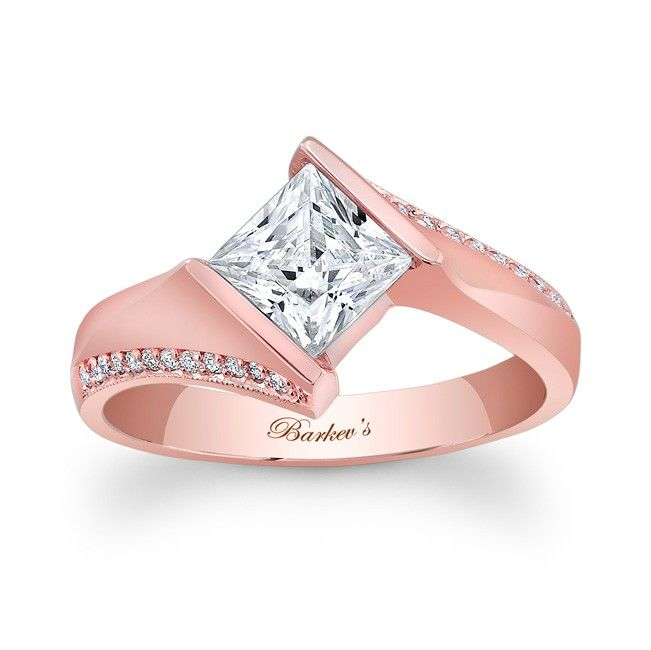 rose gold princess cut engagement rings 7840lpw a bold contemporary twist on a vintage