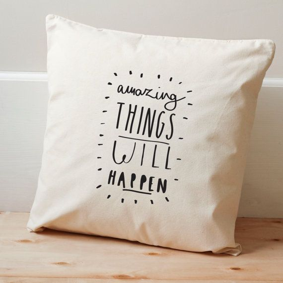 SECONDS: Amazing Things Cushion Cover - Illustrated Cotton Cushion Cover -  Home Decor - positive typography - motivational typographic print