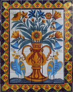 Mexican Talavera tiles hand painted mosaic tile mural