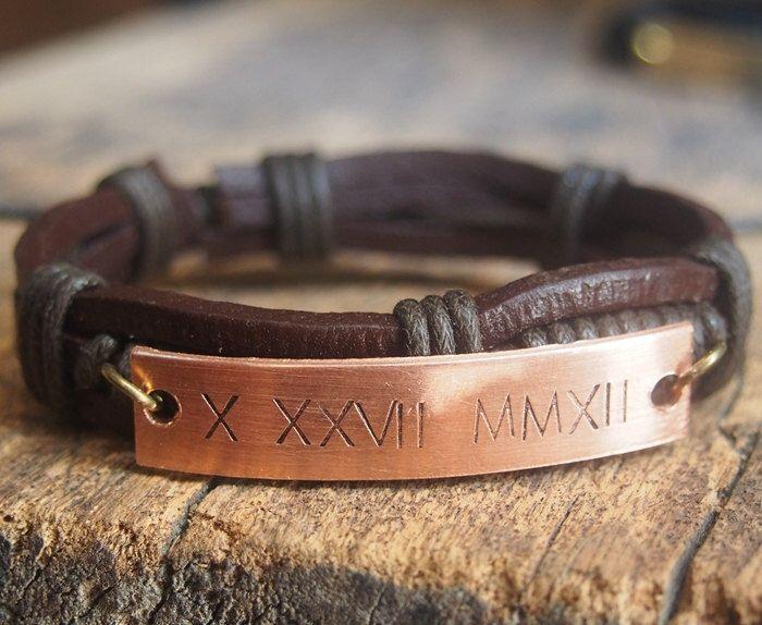 Mens Bracelet Personalized Leather Men S Roman Numeral