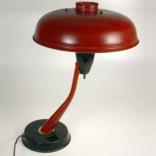 A cantilevered metal desk lamp from the 1950's. Very Mad Men first season. Image © Eclectisaurus. Visit our shop at 249 Gerrard St E, Toronto. 416-934-9009 www.eclectisaurus.com