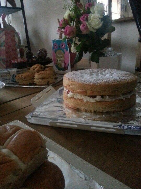Victoria sponge and scones