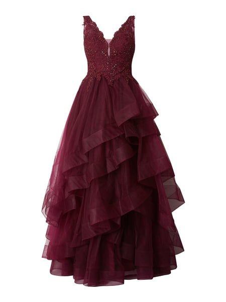 UNIQUE Abendkleid aus Mesh mit Rockteil im Stufen-Look in ...