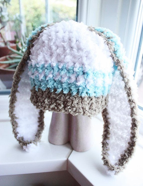 6 to 12m Spearmint Baby Hat Bunny Ears Crochet Hat Baby Brown ...