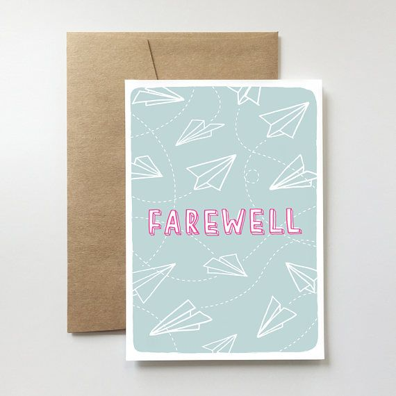 Farewell Card Goodbye Bon Voyage Paper Airplane Travel See