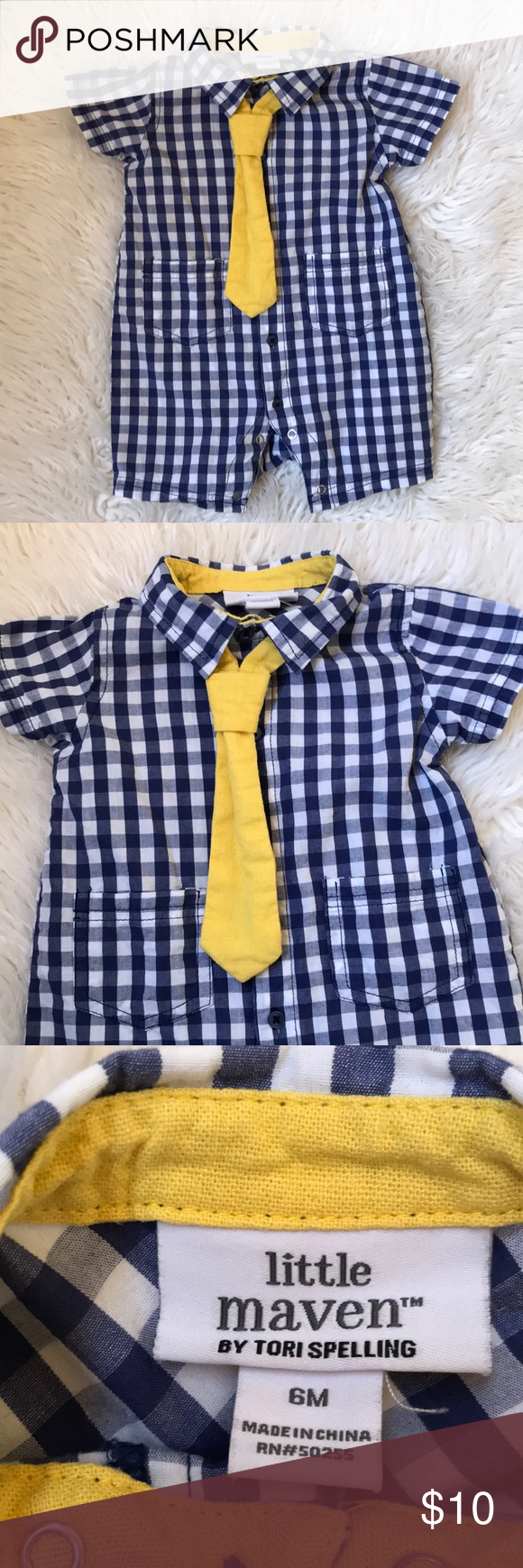 Little Maven Gingham Romper with Snap on Tie Little Maven by Tori