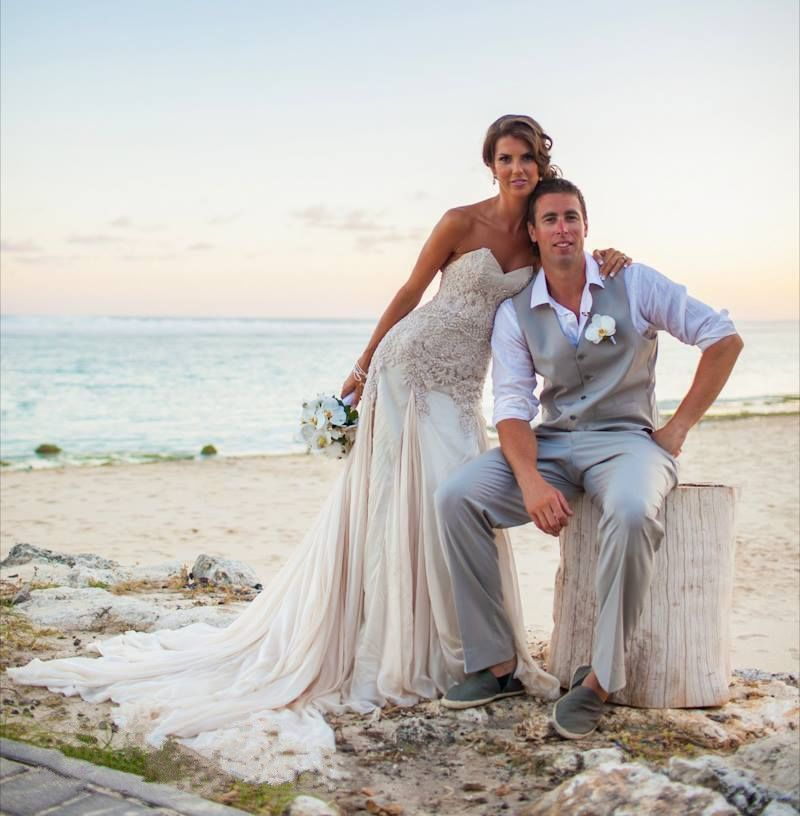 Strapless Beach Wedding Dresses Bridal Gowns Custom Size 4 6 8 10 12 ...