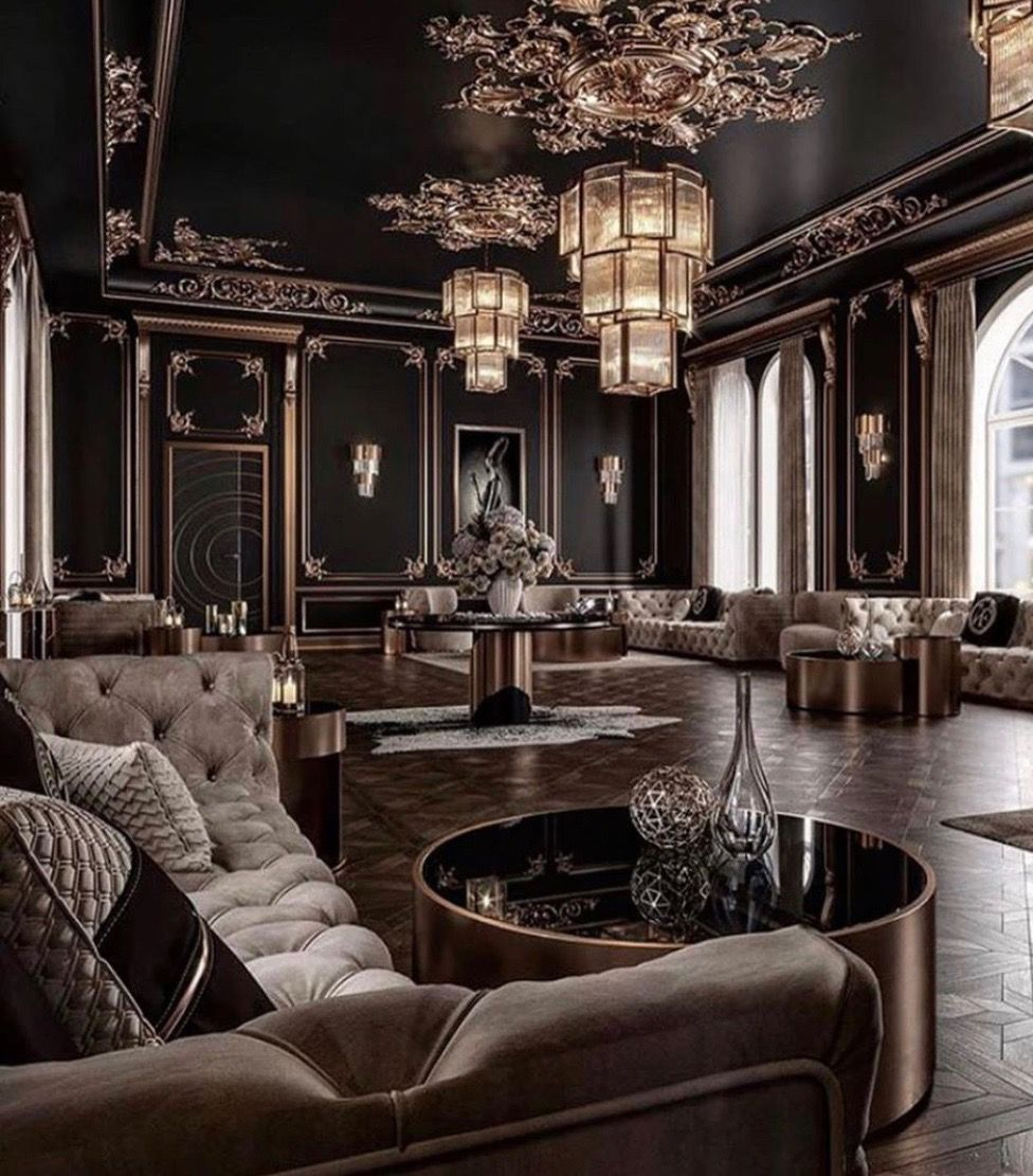 Stunning Art Deco Style Black And Gold Living Room Decor With