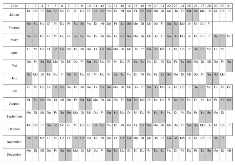 Kalendervorlage 2014 im PDF Format