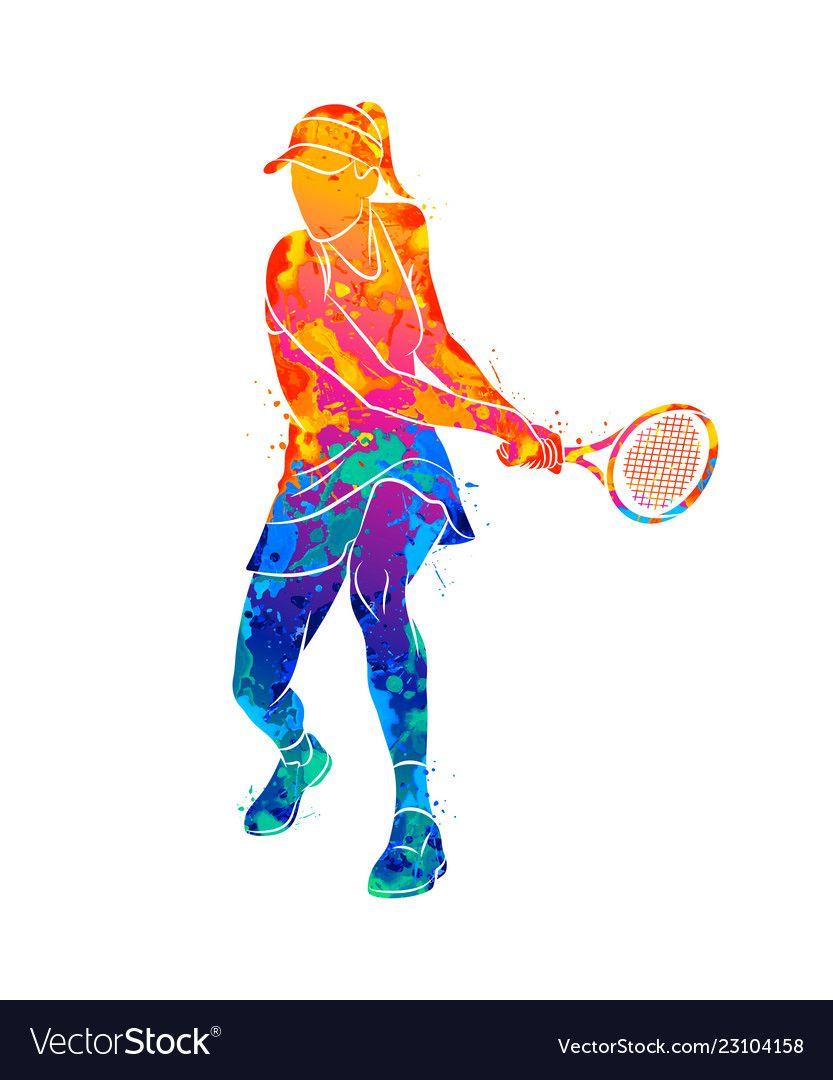 Abstract Tennis Player With A Racket From Splash Vector Image Tennis Art Tennis Art Painting Tennis Wallpaper