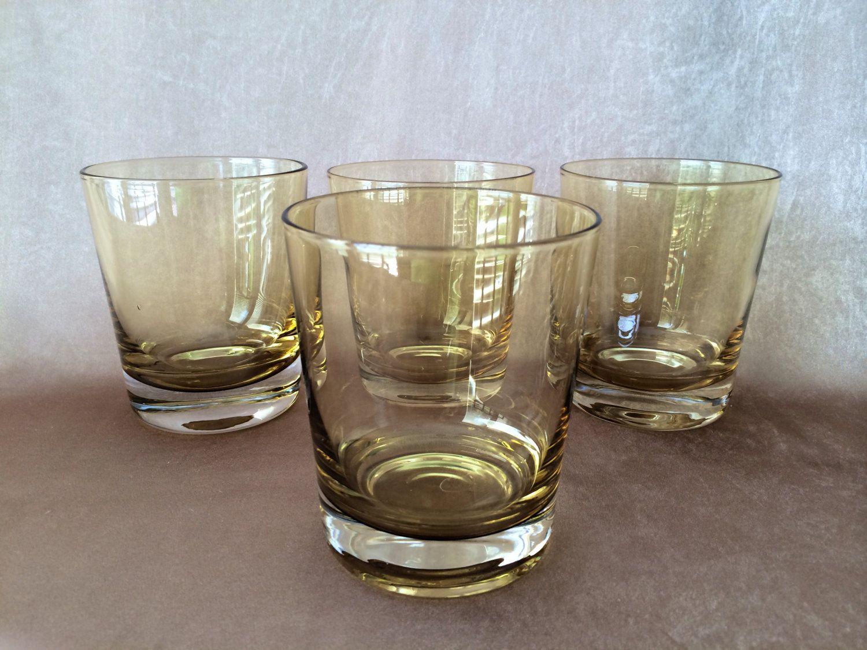 Delightful Amber Barware, Rocks Glasses, Vintage Rocks Glass, Old Fashioned, Vintage  Cocktails,