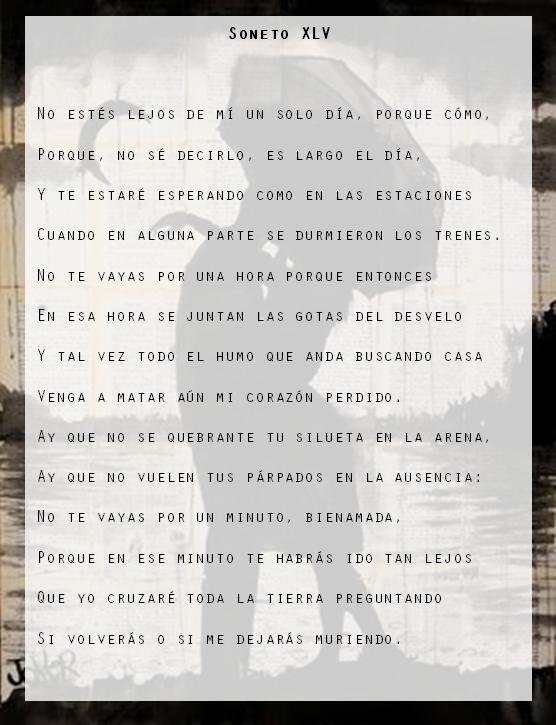 Pablo Neruda Soneto Xlv Poemas Sonetos Dormido