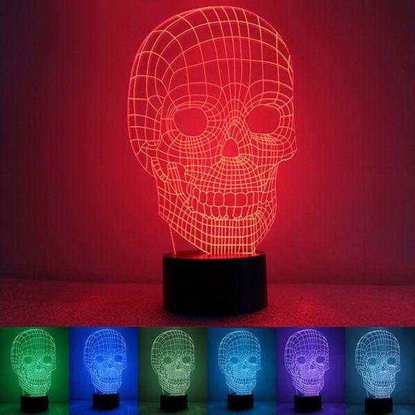 3D Skull Illusion LED Table Desk Light USB 7 Color Changing Night