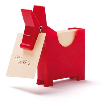 Horse clothes pin note pad holder for the office