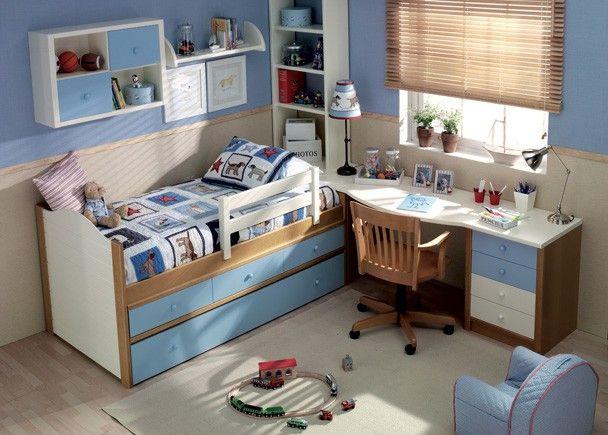 Juvenil de madera con cama con 3 cajones y nido camas for Habitaciones juveniles cama 105