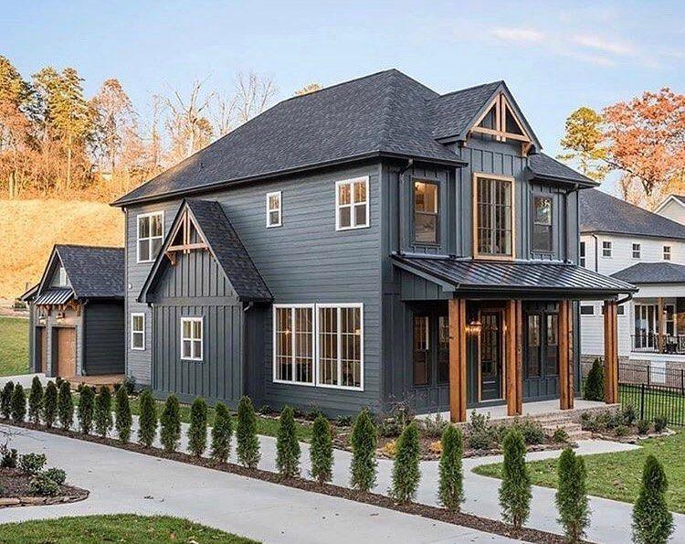 "Farmhouse Plans on Instagram: ""What's your favorite part about this modern farmhouse? Follow @farmhouseplans for more (📷: @greentechbuild ) • • • #farmhouse…"""