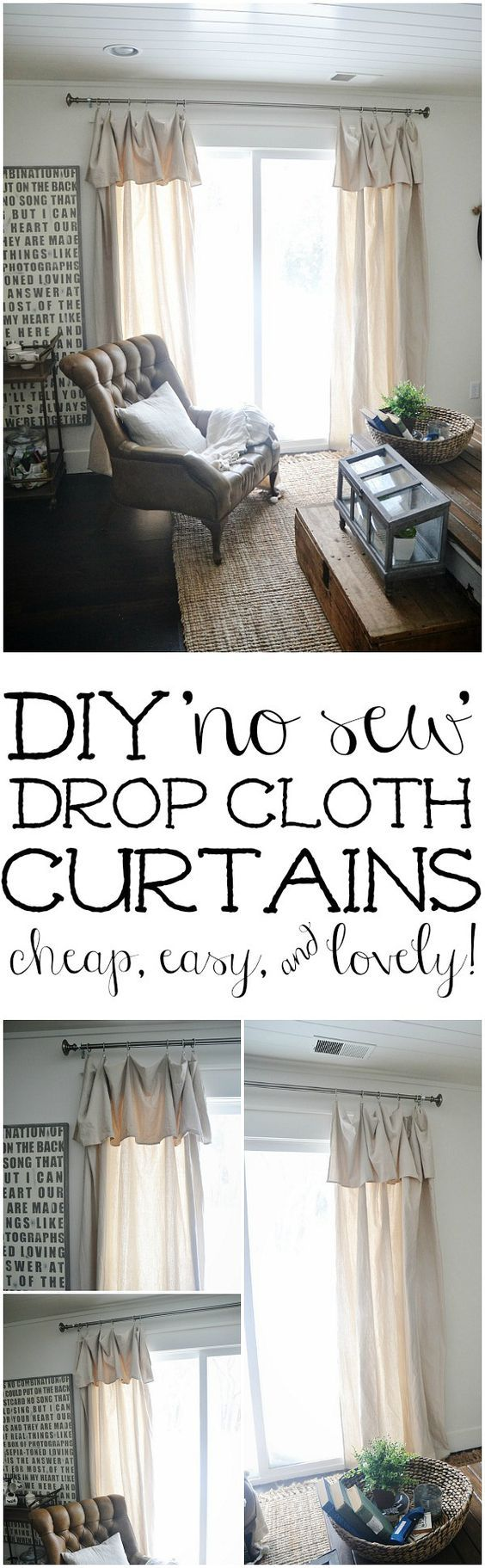 Cheap window coverings  diy nosew drop cloth curtains  the cheapest u easiest diy curtains