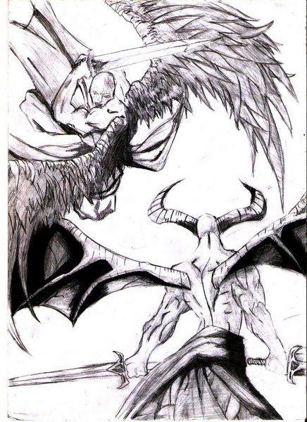 Angels Vs Demons By Brunotobi On Deviantart Demon Drawings Angel Drawing Archangel Tattoo