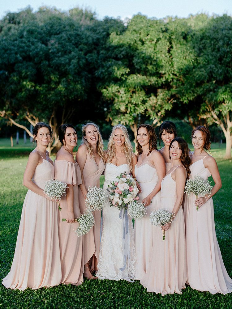 Neutral Bridesmaid Dresses Baby S Breath Bouquet Blush