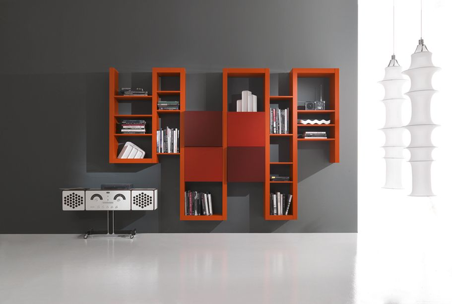 SIDE SYSTEM 85 - Wall library with original design lacquered in matt soft orange, brick and matt plum.  Wall library Creative Side System here proposed has original design and a specific position of the sides which give it a dynamic aspect.  Comfortable squared wall units  with double depth and push-pull opening creates containing spaces and volume effect.  http://www.fimarmobili.com