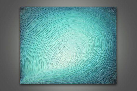 Acrylic Painting  Abstract Aqua Wave 24 x by MyaBessetteArtStudio