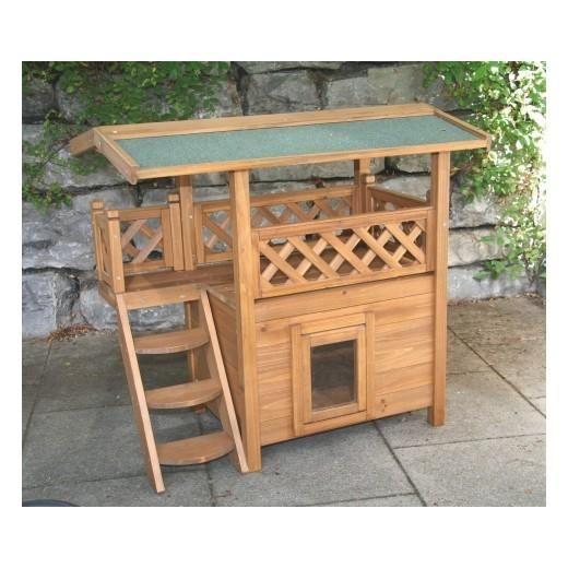 Maisonnette pour chats en bois lodge niche en bois deux for Niche exterieur chat