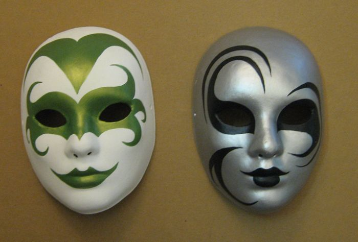 Dynamic Duo Mask Painting Paper Mache Mask Diy Carnival