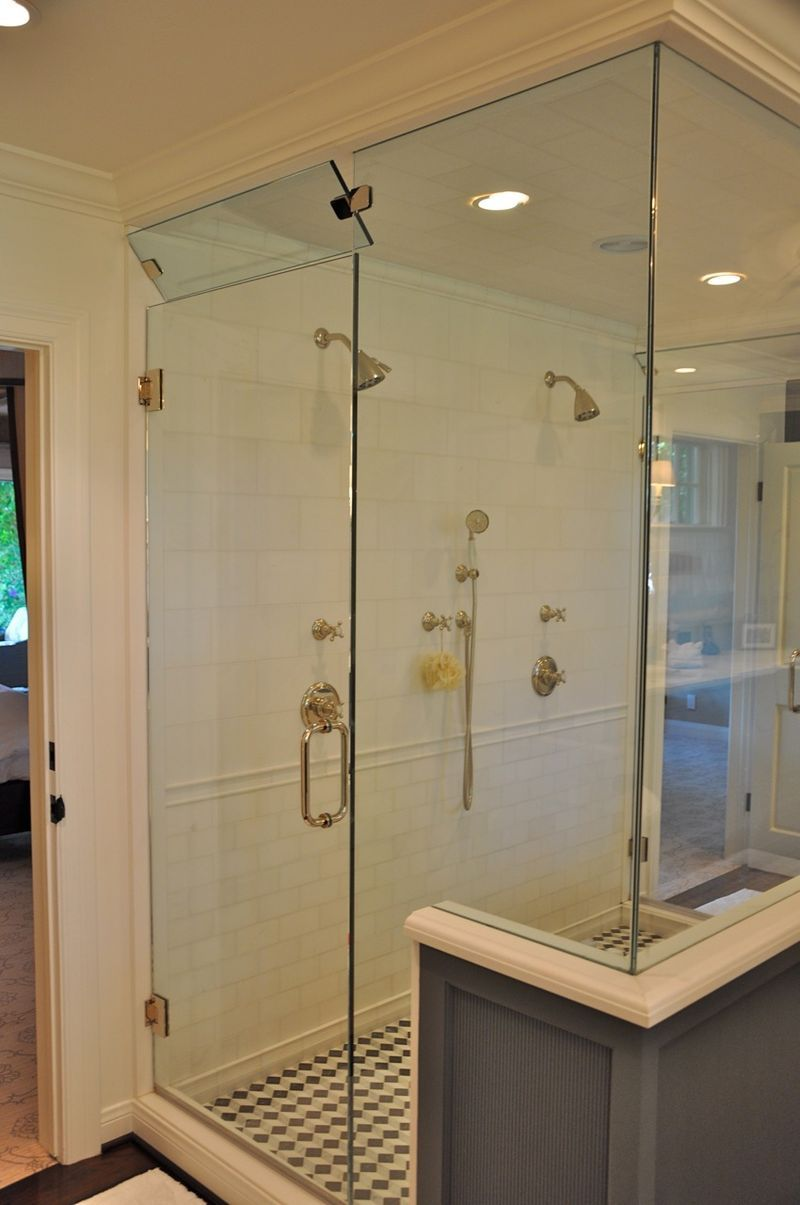i like the large shower stall and how there is a door opening to ...
