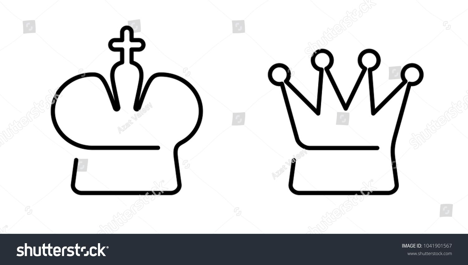 Linear Crown Of King And Queen On White Chess Symbols Icons