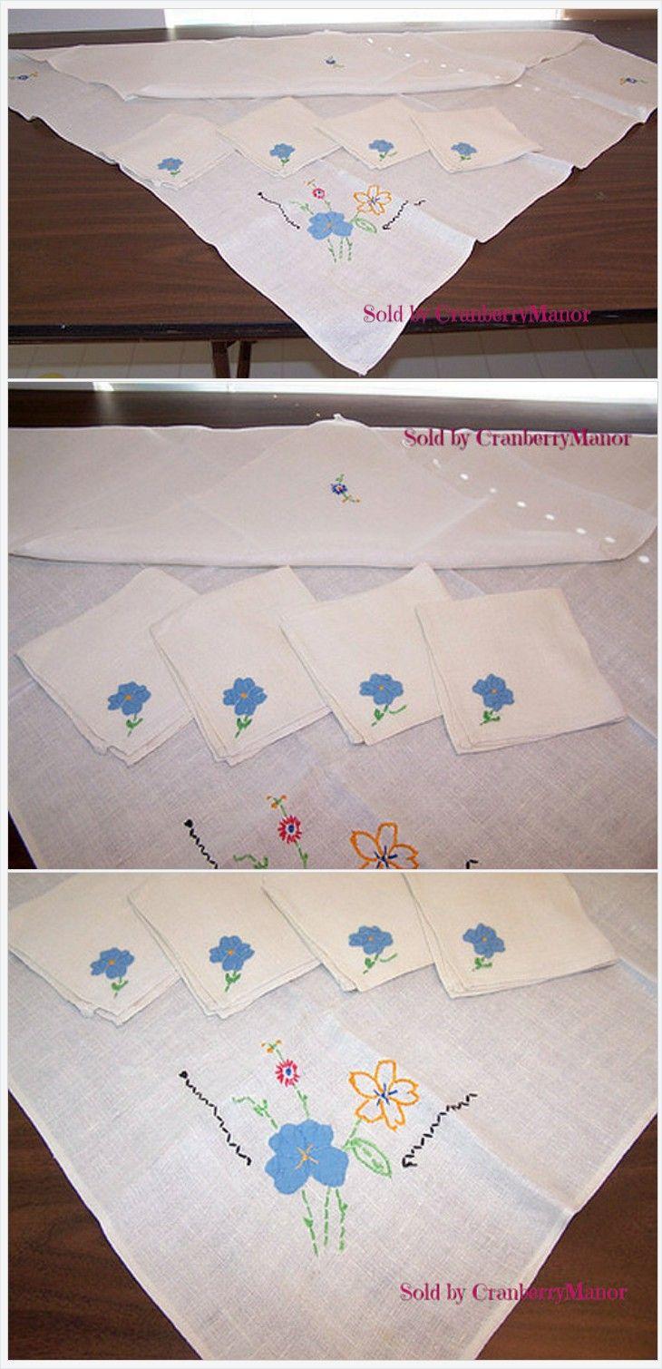Bridge or card or tea tablecloth and 4 napkin set vintage