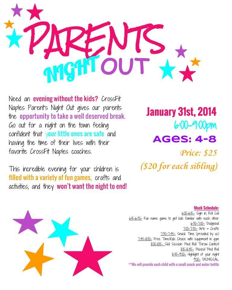 Parents Night Out Flyer Fun Fundraisers Parent Night School Fundraisers