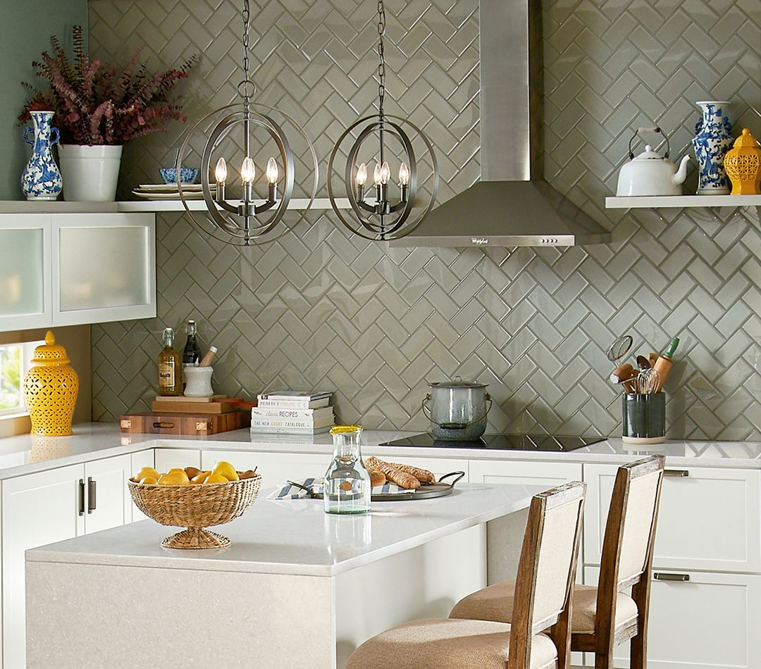 Gray Glass Herringbone 3x6 Backsplash Tile With Style