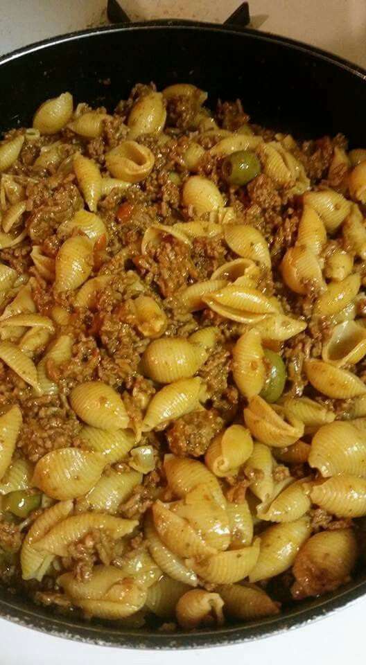 Puerto Rican Style Shell Pasta With Ground Beef My Food