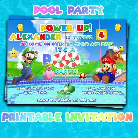 Super Mario Pool Party Invitation Super Mario Bros Party Super Mario