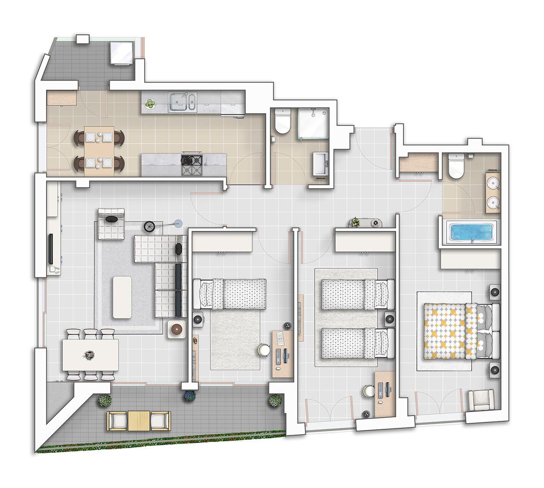 Presentation Drawing Floor Plan Atchitectural Interior