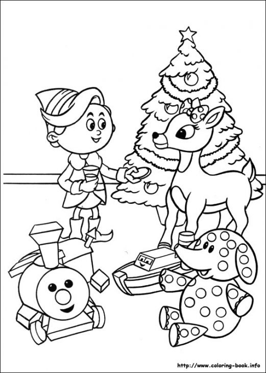 rudolph and hermey celebrating christmas coloring page