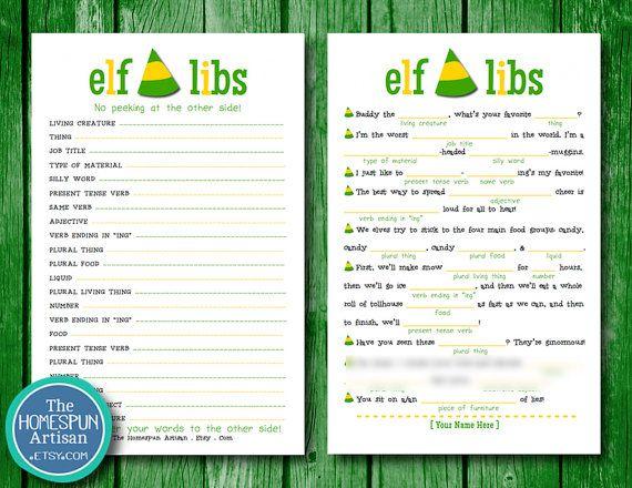 Free Christmas Printables With Favorite Movie Quotes: Elf Movie Quotes Christmas Mad Libs
