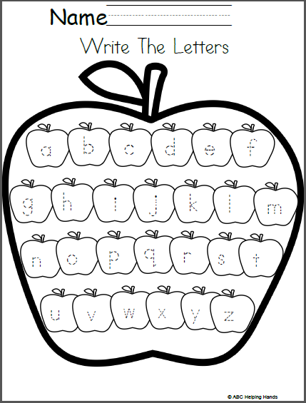 Editable Lowercase Letter Writing Worksheet Apples Theme