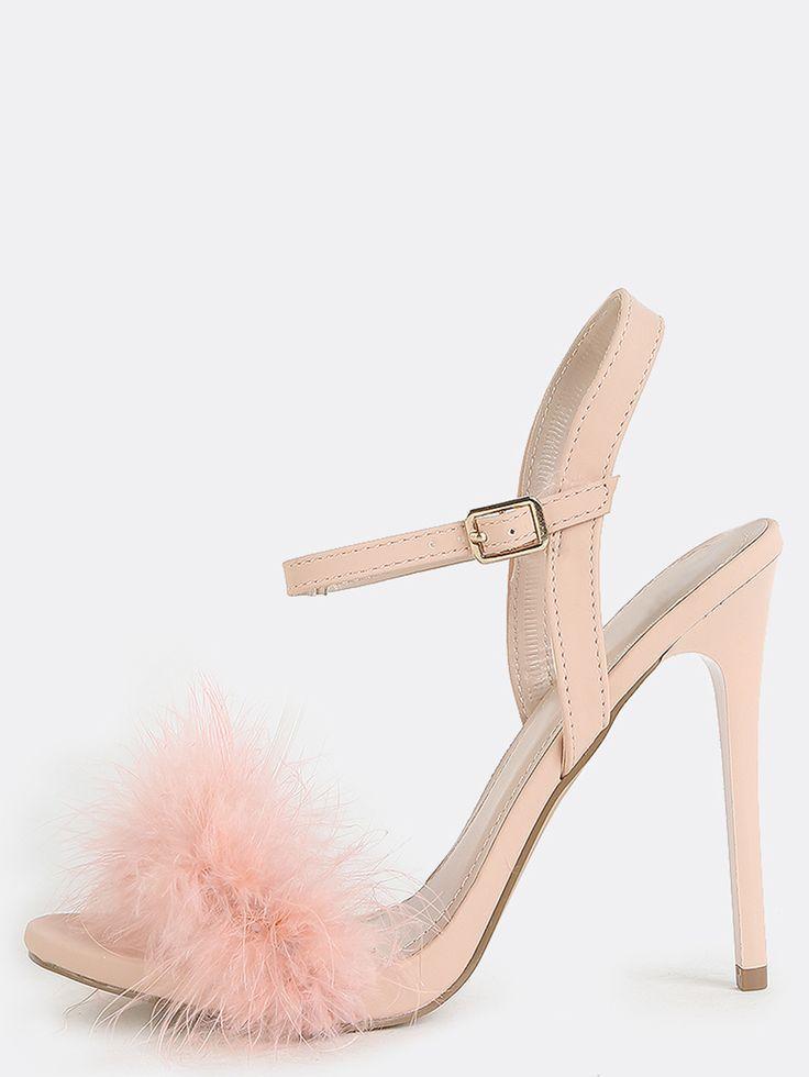8ce15fb18c4 Fluffy Feather High Heels PINK -SheIn(Sheinside)