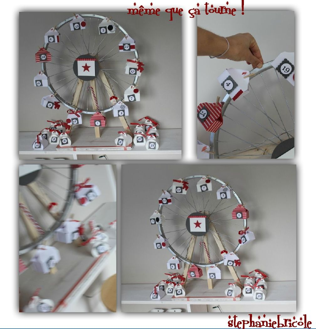 diy faire soi m me un calendrier de l 39 avent grande roue de v lo calendrier de avent et. Black Bedroom Furniture Sets. Home Design Ideas