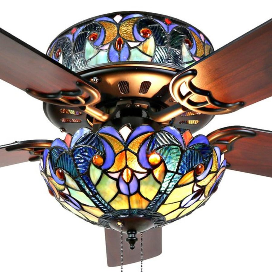 River Of Goods Tiffany Style 52 Quot Stained Glass Led Ceiling