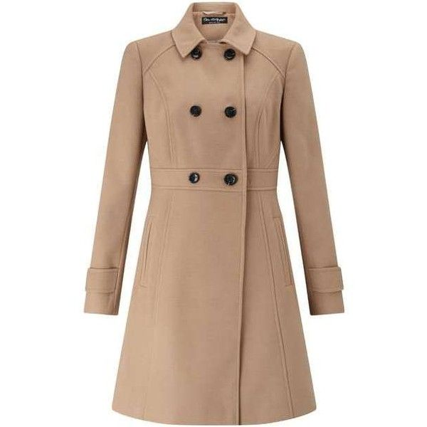 Camel Double Breasted Coat found on Polyvore featuring outerwear, coats, camel…
