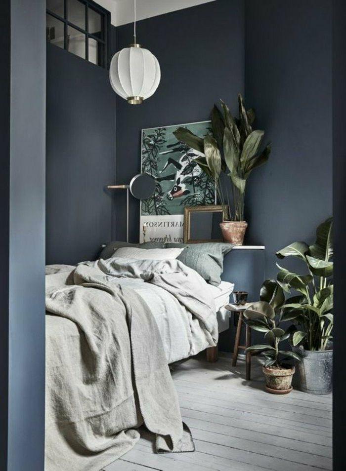 Schlafzimmer Modern Wände In Grau Viele Pflanzen Schlafzimmer