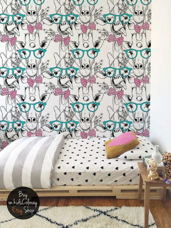 Hipster Giraffe Wallpaper, Kids Room Wall Decal, Cute Wall Mural For Girls,  Reusable Part 57