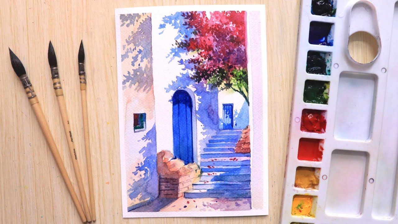 Watercolor Painting For Beginners Beautiful Flower Tree And Door