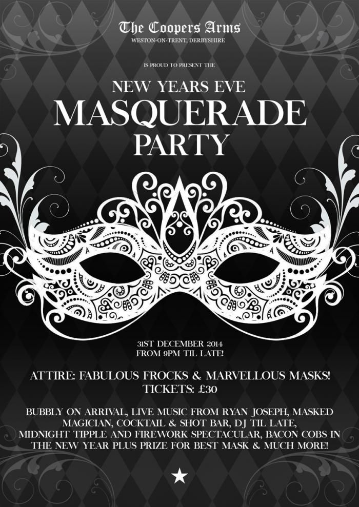 new years eve masquerade ball the coopers arms weston on trent