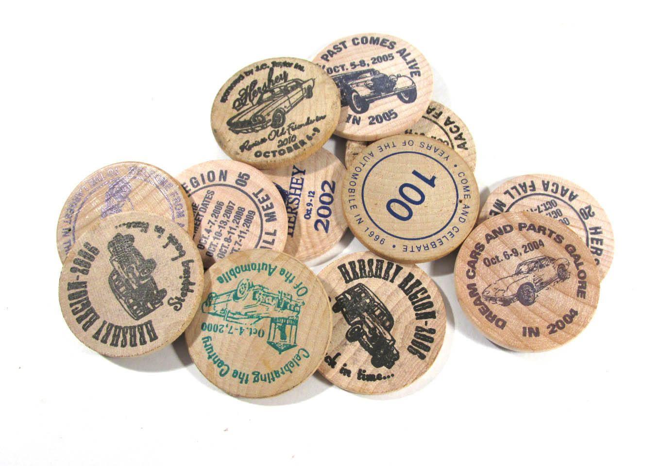 Wooden Nickel Coins Twelve 12 Assorted Wooden Nickel Vintage Car